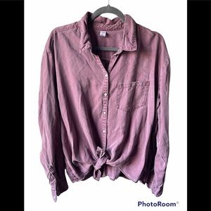 Old navy purple/mauve button up long sleeve tie up top XL